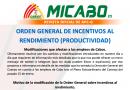 ORDEN GENERAL DE INCENTIVOS AL RENDIMIENTO (PRODUCTIVIDAD)